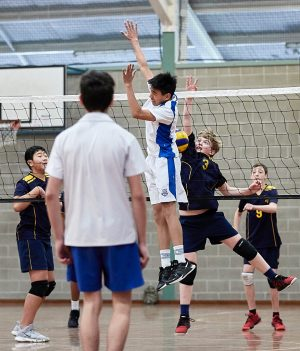 The Scots College volleyball team vs St Ignatius, Riverview